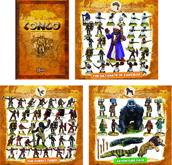 CONGO BUNDLE 2 - The Sultanate of Zanzibar, The Forest Tribes, the Adventure Pack and the Rulebook (10% off and free shipping)
