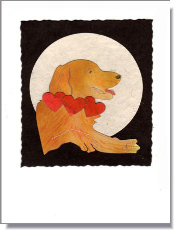 Golden with Heart Collar Greeting Card ~ 1001