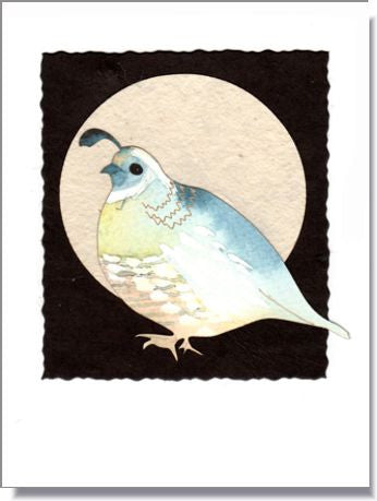 Quail Moon Handmade Greeting Card ~ 1008