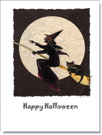 Witch & Cat Greeting Card ~ 1012