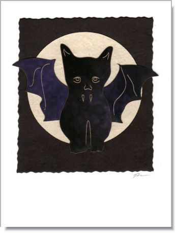 Vampire Cat Moon Handmade Greeting Card ~ 1020