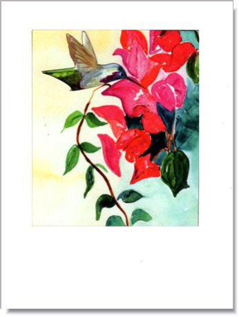 Hummingbird and Bougainvillea Greeting Card ~ 1243