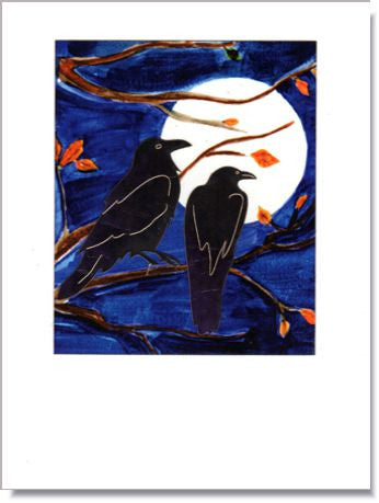 Crows and Moon Greeting Card