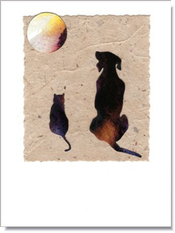 "Dog and Cat ""Friends"" Greeting Card ~ 166"