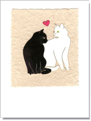 Facing Cats with Heart Handmade Greeting Card ~ 700