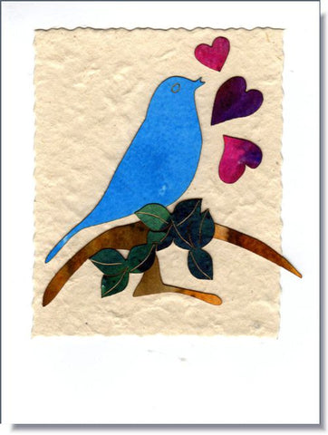 Bluebird with hearts ~ 869