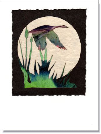 Flying Duck Moon Handmade Greeting Card ~ 919