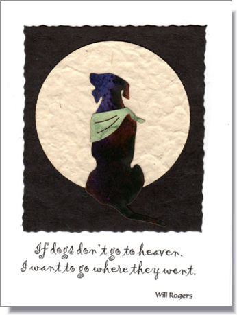 Dog Moon Handmade Greeting Card ~ 951