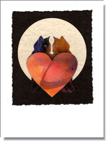 Cat & Hearts Moon handmade greeting card