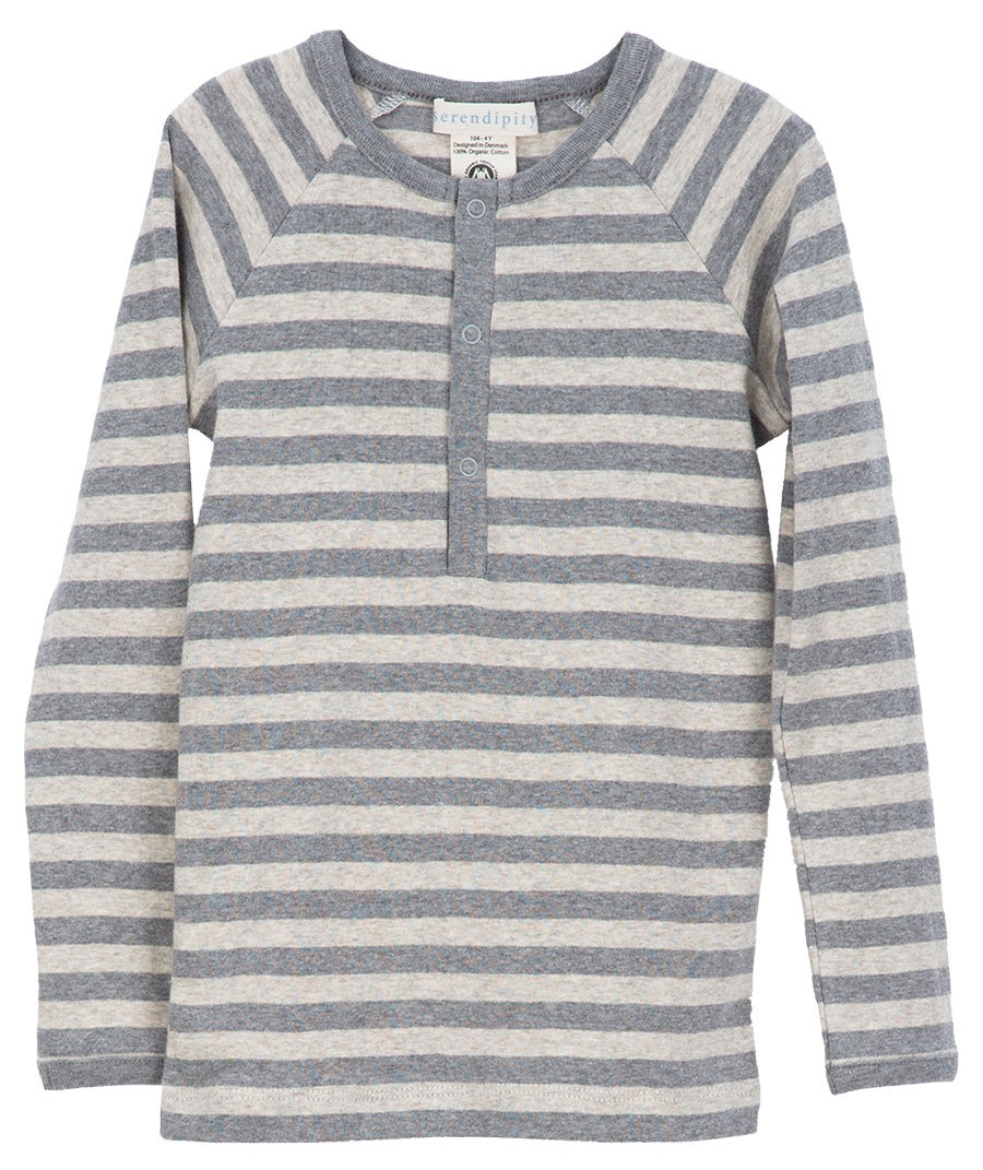 Serendipity Organic Tee Gray Stripes