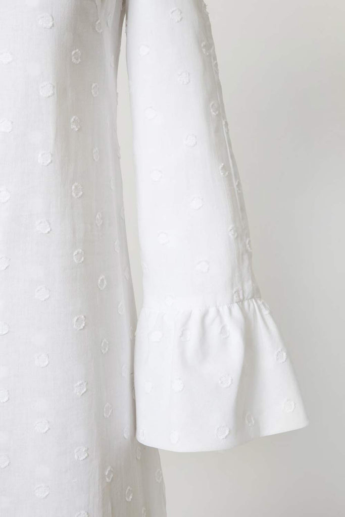 Feria de Sevilla Cabana Dress - White Grande Swiss Dot