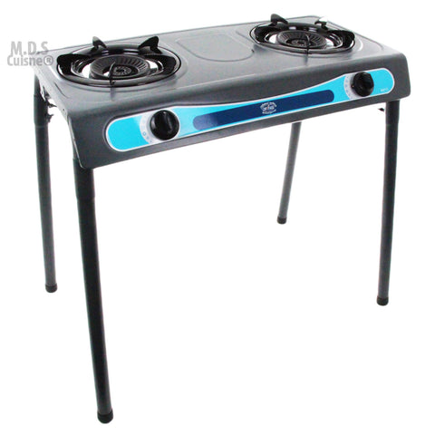 Stove Double Head Propane Gas Burner Portable Stand Camping Outdoor Stove Stainless