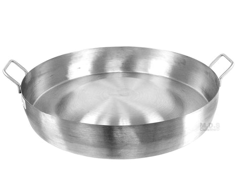 "Comal Convex 21.5"" Stainless Steel Panza Arriba Heavy Duty Commercial Mexican Griddle Extra High Rim"