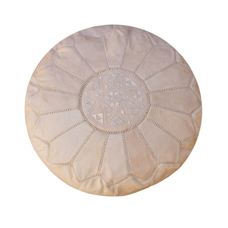 Beige Pink Leather Moroccan Pouf - kasari