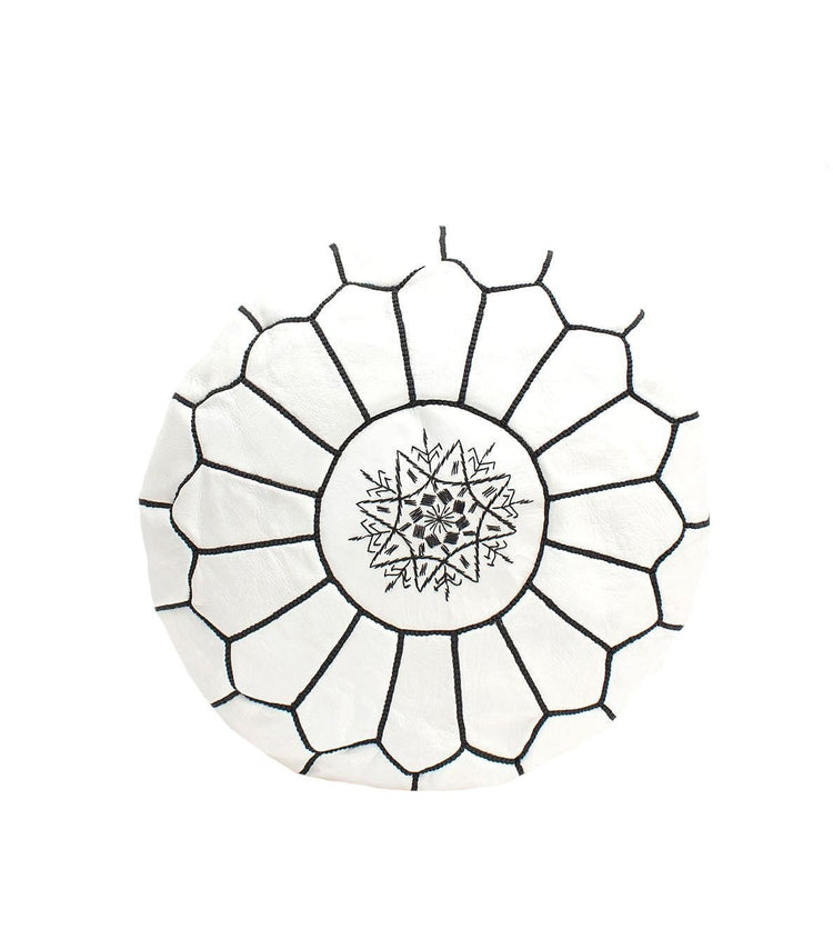 Black and White Moroccan Leather Pouf - kasari