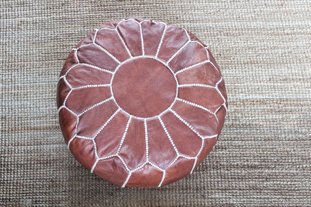 Brown Moroccan Leather Pouf - kasari
