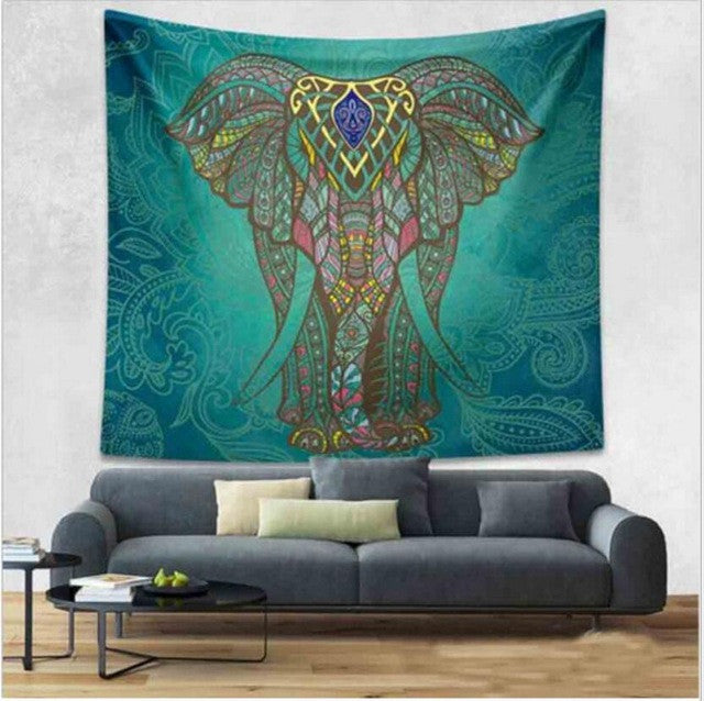 Indian Elephant Tapestry Aubusson Colored