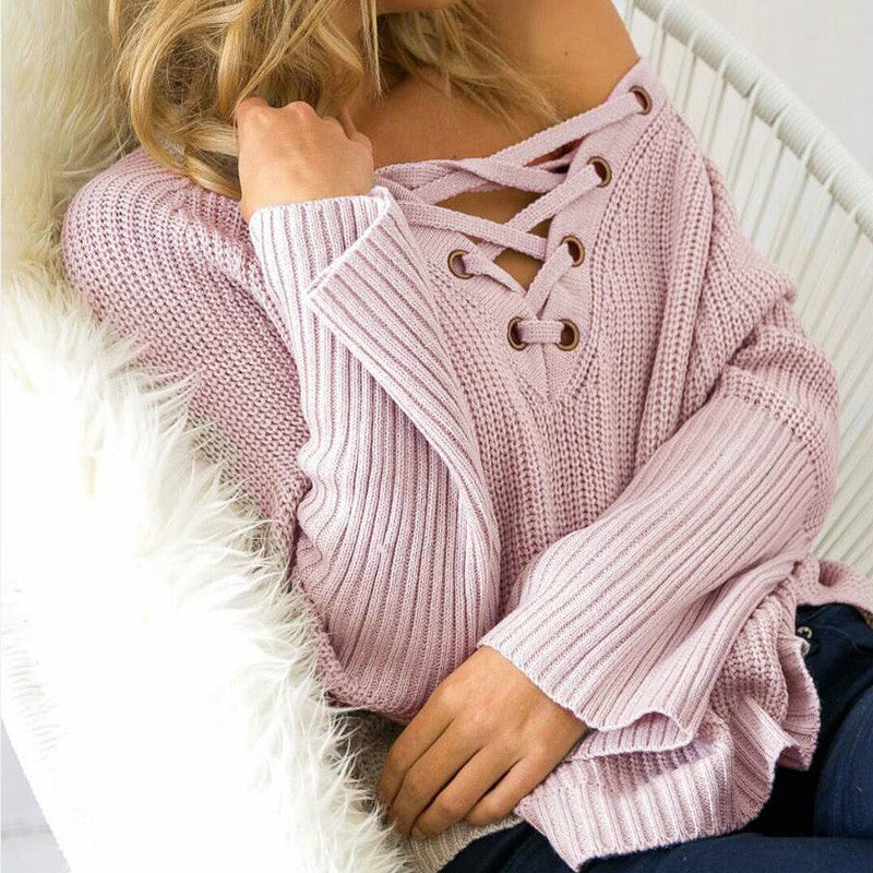 LACE UP KNITTED ONE SIZE SWEATER