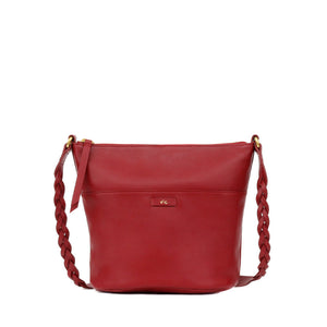 Cable Bucket Tote in Rouge Red