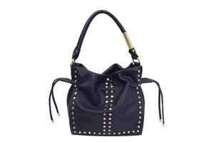 Riley Drawstring Tote in Midnight Blue