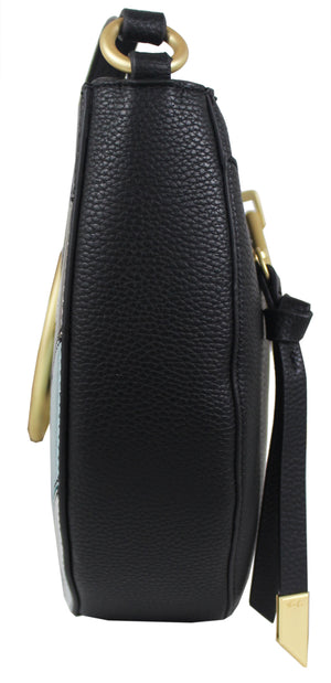 Isabella Crescent Satchel in Black