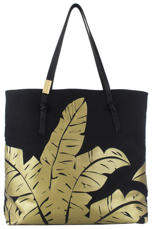 Palm Canvas Tote in Black & Gold
