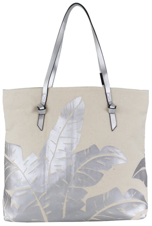 Palm Canvas Tote in Natural & Silver