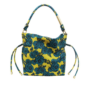 Naomi Drawstring Tote in Lemon & Teal