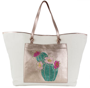 Flora Canvas Tote in Natural Cactus