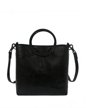 City Blooms Ring Satchel in Black
