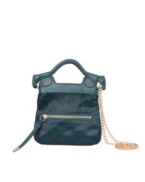 Tiny City Crossbody in Peacock Haircalf
