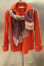 Cashmere Cream Scarf with Pink Paisley Print - Farinaz Taghavi