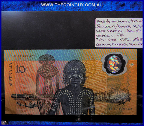 1988 Australian Ten Dollar Polymer Notes EF