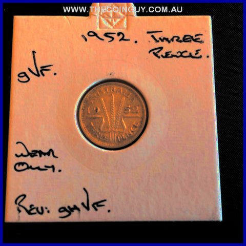 1952 New Zealand Three Pence gVF