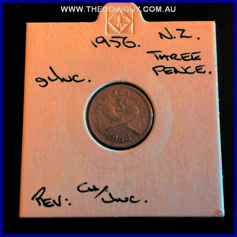 1956 New Zealand Three Pence gUNC