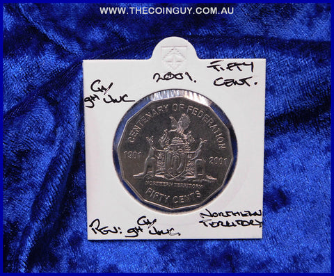 2001 Australian Fifty Cent Coins Northern Territory ghCh/Unc