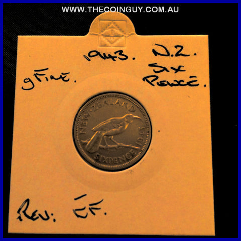 1943 New Zealand Six Pence gFine