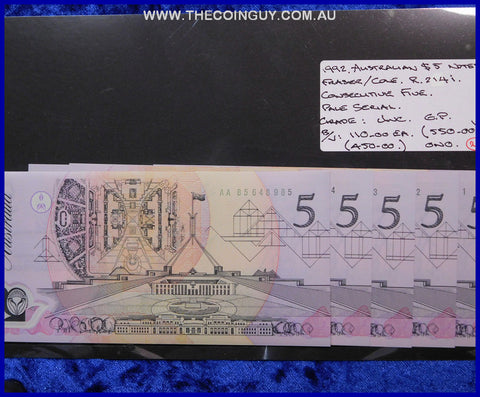 1992 Australian Five Dollar Polymer Notes Unc