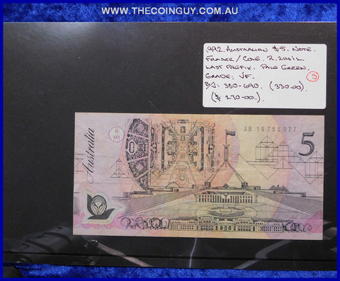 1992 Australian Five Dollar Polymer Notes VF