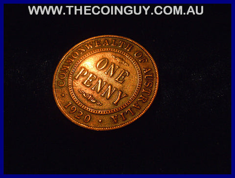 1920 NO DOT Australian One Penny gVF