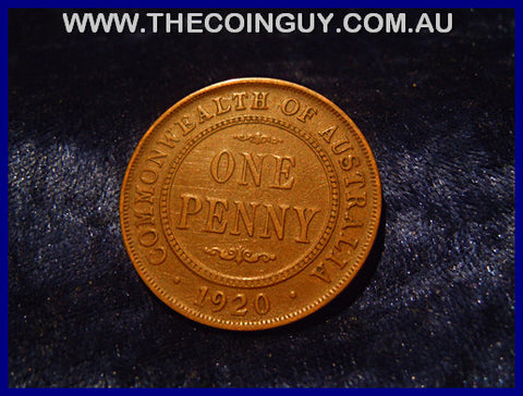 1920 NO DOT Australian One Penny VF
