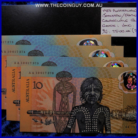 1988 Australian Ten Dollar Polymer Notes Unc