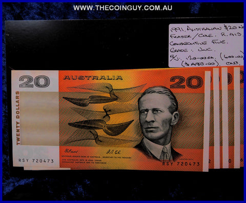 1991 Australian Twenty Dollar Notes Unc