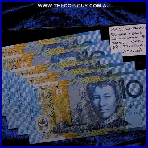 1993 Australian Ten Dollar Polymer Notes Unc