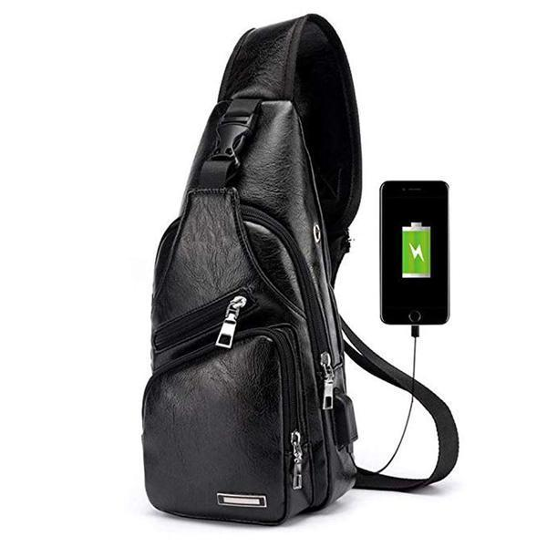 Black Luxury Crossbody USB Bag