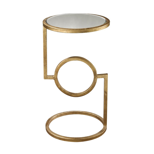 114-108 Mirrored Top Hurricane Side Table Antique Gold Leaf