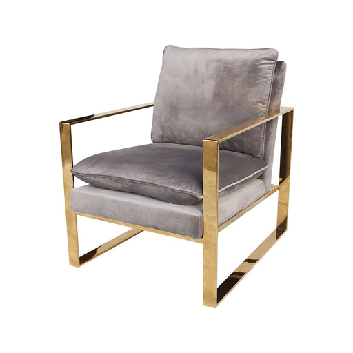 1204-077 Old Sport Gold Plated Stainless Steel, Foam, And Grey Velvet Armchair Grey Velvet, Gold Plated Stainless Steel Frame