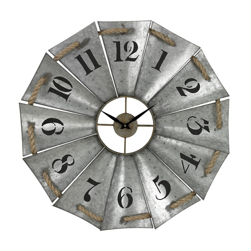129-1091 Aluminum And Rope Wall Clock Galvanized Metal, Natural Rope