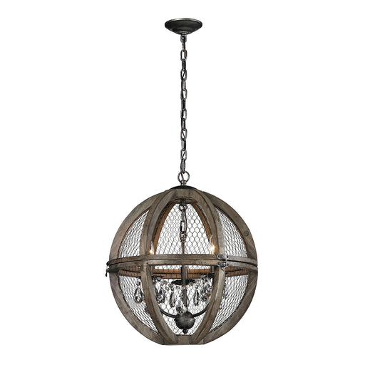 140-007-GM Renaissance Invention Wood And Wire Chandelier - Small Aged Wood, Bronze, Clear Crystal