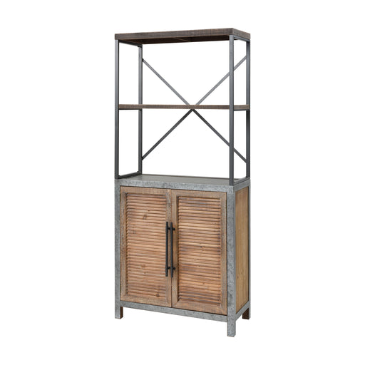 3138-452 Badlands Drifted Oak With Aged Iron 2-Door Wood And Metal Bookcase Drifted Oak, Aged Iron